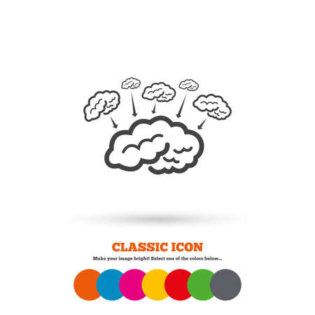 marrow: Brain sign icon. Brainstorm business ideas. Human intelligence mind. Classic flat icon. Colored circles. Vector Illustration