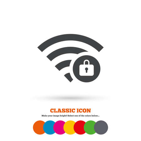 locked: Wifi locked sign. Password Wifi symbol. Wireless Network icon. Wifi zone. Classic flat icon. Colored circles. Vector
