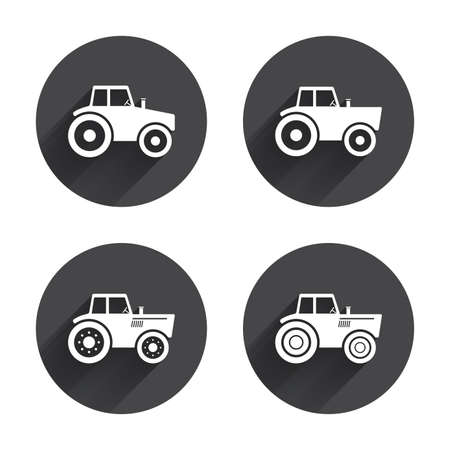 agricultural: Tractor icons. Agricultural industry transport symbols. Circles buttons with long flat shadow. Vector