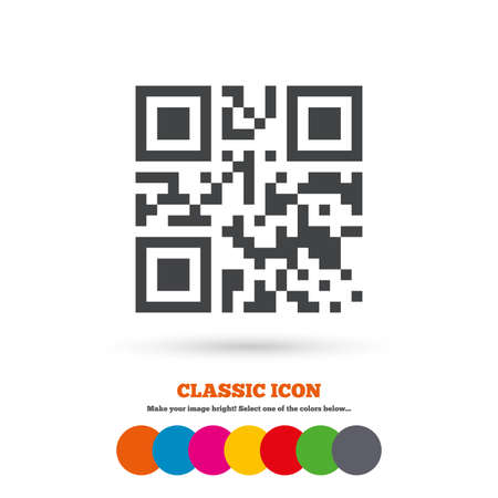 coded: Qr code sign icon. Scan code symbol. Coded word - success! Classic flat icon. Colored circles. Vector