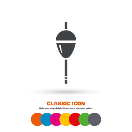 bobber: Fishing sign icon. Float bobber symbol. Fishing tackle. Classic flat icon. Colored circles. Vector Illustration