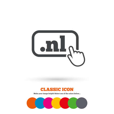 nl: Domain NL sign icon. Top-level internet domain symbol with hand pointer. Classic flat icon. Colored circles. Vector