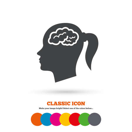 classic woman: Head with brain sign icon. Female woman human head think symbol. Classic flat icon. Colored circles. Vector