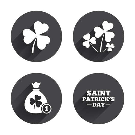 clover buttons: Saint Patrick day icons. Money bag with clover and coin sign. Trefoil shamrock clover. Symbol of good luck. Circles buttons with long flat shadow. Vector