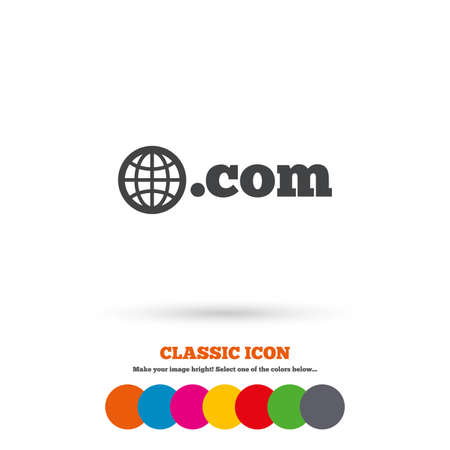 com: Domain COM sign icon. Top-level internet domain symbol with globe. Classic flat icon. Colored circles. Vector
