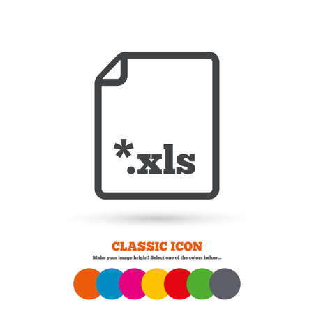 excel: Excel file document icon. Download xls button. XLS file extension symbol. Classic flat icon. Colored circles. Vector Illustration