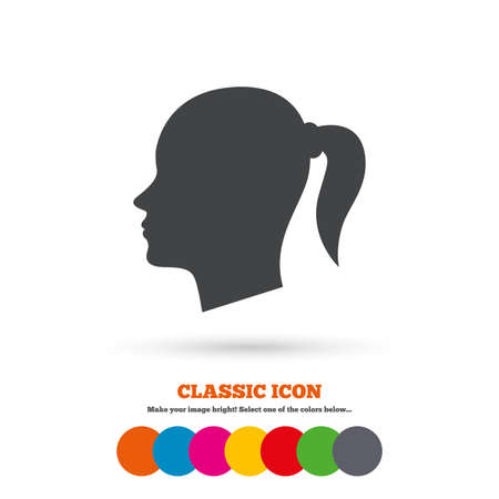pigtail: Head sign icon. Female woman human head with pigtail symbol. Classic flat icon. Colored circles. Vector