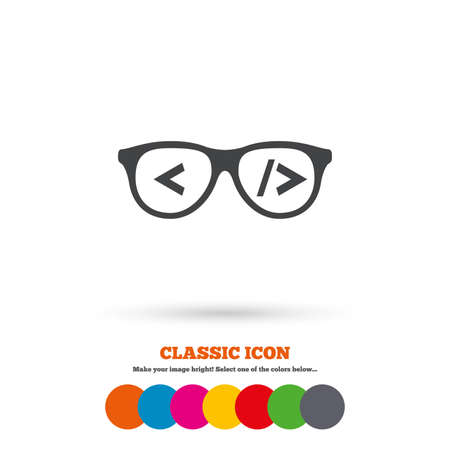 coder: Coder sign icon. Programmer symbol. Glasses icon. Classic flat icon. Colored circles. Vector Illustration
