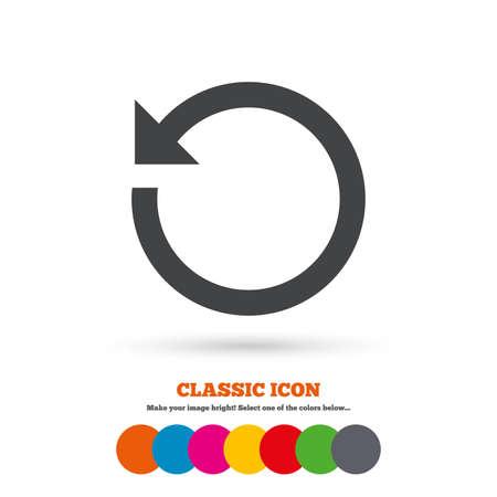 refrescar: Repita el icono. Restauran símbolo. Signo Loop. Icono plana Classic. Círculos coloreados. Vector Vectores
