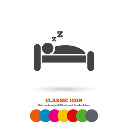 Hotel apartment sign icon. Travel rest place. Sleeper symbol. Classic flat icon. Colored circles. Vector