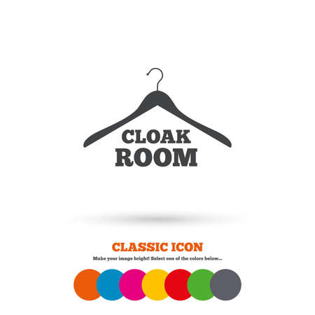 Garderobe teken icoon. Hanger kast symbool. Classic vlakke icoon. Gekleurde cirkels. Vector Stock Illustratie