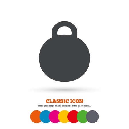 cast iron: Weight sign icon. Sport symbol. Fitness. Classic flat icon. Colored circles. Vector