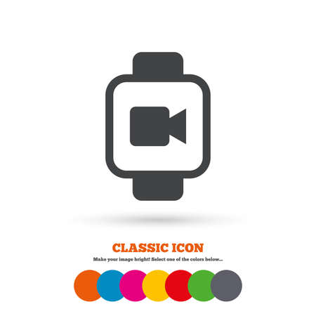 watch video: Smart watch sign icon. Wrist digital watch. Video camera symbol. Classic flat icon. Colored circles. Vector Illustration