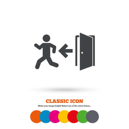 fire exit: Emergency exit with human figure sign icon. Door with left arrow symbol. Fire exit. Classic flat icon. Colored circles. Vector