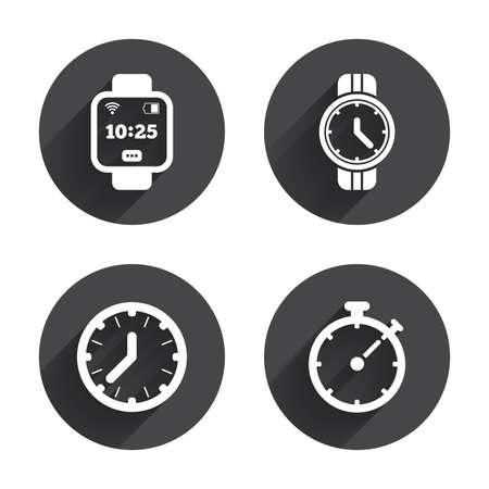 スマートな時計アイコン。機械式時計の時刻、ストップウォッチ タイマー シンボル。手首デジタル時計の記号。長い平ら影丸ボタン。ベクトル