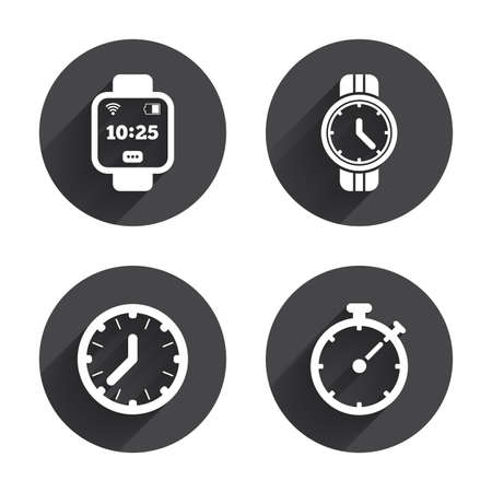 digital timer: Smart watch icons. Mechanical clock time, Stopwatch timer symbols. Wrist digital watch sign. Circles buttons with long flat shadow. Vector Illustration