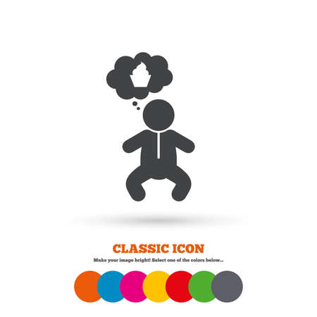 crawlers: Baby infant think about food sign icon. Toddler boy in pajamas or crawlers body symbol. Classic flat icon. Colored circles. Vector