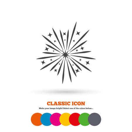 pyrotechnic: Fireworks sign icon. Explosive pyrotechnic show symbol. Classic flat icon. Colored circles. Vector