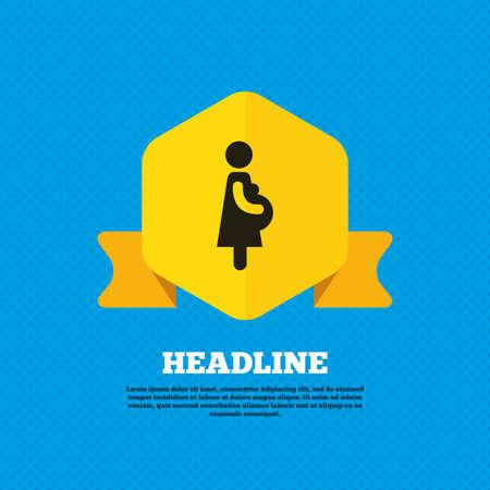 simbolo de la mujer: Icono de signo embarazada. Mujeres símbolo embarazo. Etiqueta de la etiqueta del amarillo. Círculos patrón transparente en la parte posterior. Vector Vectores