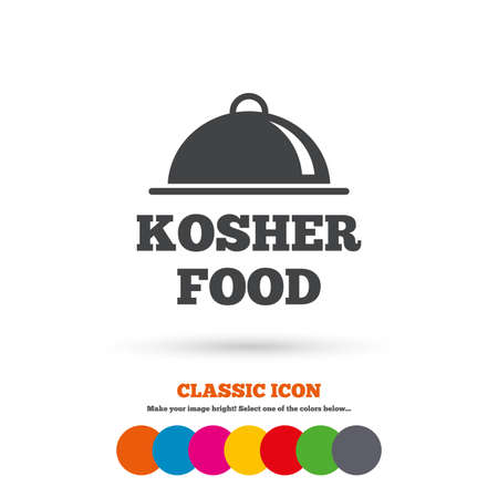 yiddish: Kosher food product sign icon. Natural Jewish food with platter serving symbol. Classic flat icon. Colored circles. Vector Illustration