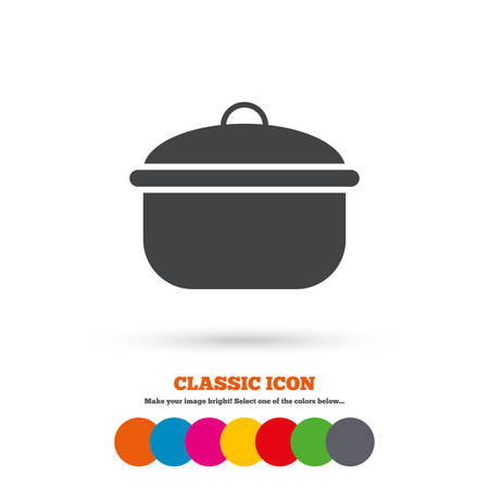 stew: Cooking pan sign icon. Boil or stew food symbol. Classic flat icon. Colored circles. Vector
