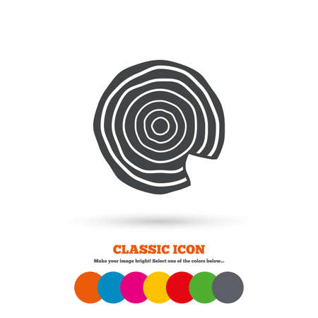 nick: Wood sign icon. Tree growth rings. Tree trunk cross-section with nick. Classic flat icon. Colored circles. Vector Illustration