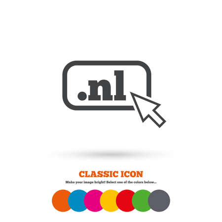 nl: Domain NL sign icon. Top-level internet domain symbol with cursor pointer. Classic flat icon. Colored circles. Vector