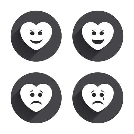 long depression: Heart smile face icons. Happy, sad, cry signs. Happy smiley chat symbol. Sadness depression and crying signs. Circles buttons with long flat shadow. Vector Illustration