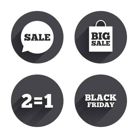 equals: Sale speech bubble icons. Two equals one. Black friday sign. Big sale shopping bag symbol. Circles buttons with long flat shadow. Vector