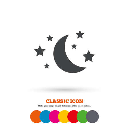 bed time: Moon and stars icon. Sleep dreams symbol. Night or bed time sign. Classic flat icon. Colored circles. Vector