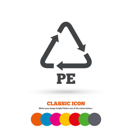 polyethylene: PE Polyethylene sign icon. Recycling symbol. Classic flat icon. Colored circles. Vector