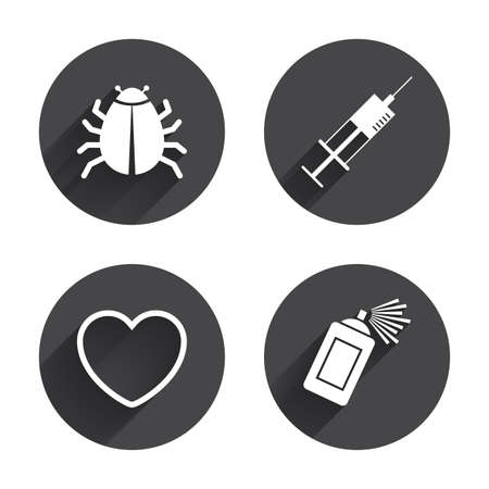 syringe inoculation: Bug and vaccine syringe injection icons. Heart and spray can sign symbols. Circles buttons with long flat shadow. Vector Illustration