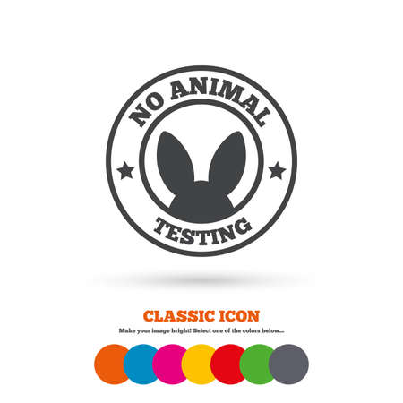 No animals testing sign icon. Not tested symbol. Classic flat icon. Colored circles. Vector