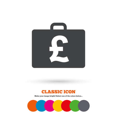 gbp: Case with Pounds GBP sign icon. Briefcase button. Classic flat icon. Colored circles. Vector Illustration