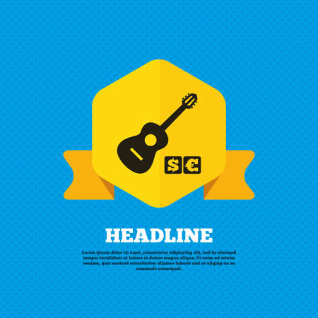 Acoustic guitar sign icon. Paid music symbol. Yellow label tag. Circles seamless pattern on back. Vector