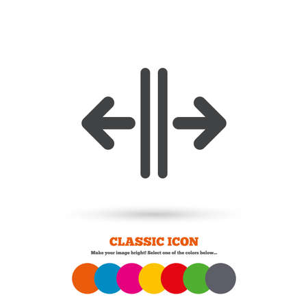 door sign: Open the door sign icon. Control in the elevator symbol. Classic flat icon. Colored circles. Vector Illustration