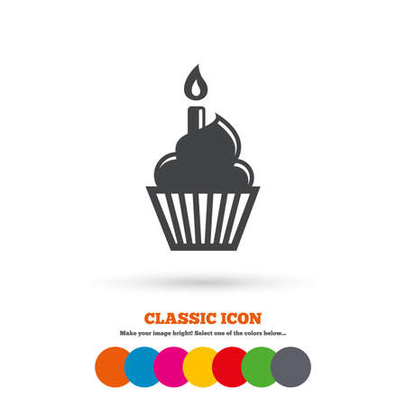 Birthday Cake Sign Icon Cupcake With Burning Candle Symbol