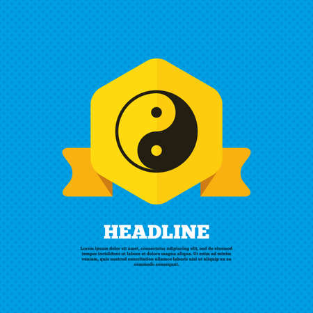 karma graphics: Ying yang sign icon. Harmony and balance symbol. Yellow label tag. Circles seamless pattern on back. Vector Illustration