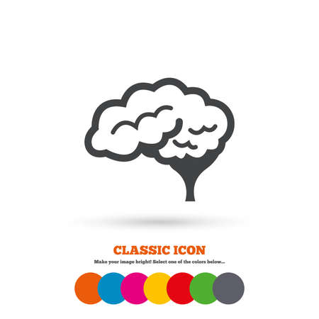 intelligent: Brain with cerebellum sign icon. Human intelligent smart mind. Classic flat icon. Colored circles. Vector