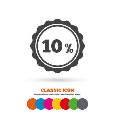 tokens: 10 percent discount sign icon. Sale symbol. Special offer label. Classic flat icon. Colored circles. Vector