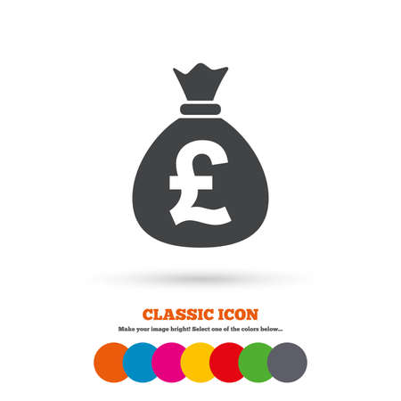gbp: Money bag sign icon. Pound GBP currency symbol. Classic flat icon. Colored circles. Vector