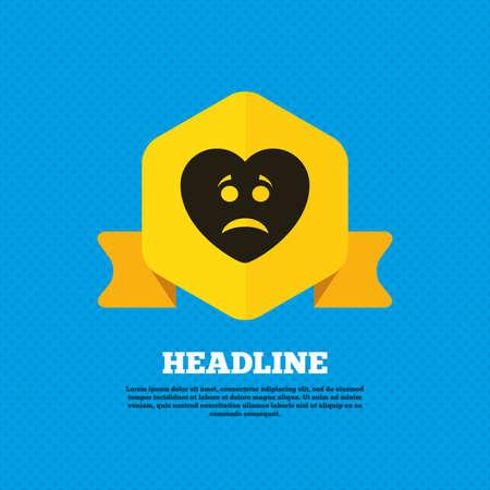sad heart: Sad heart face sign icon. Sadness depression chat symbol. Yellow label tag. Circles seamless pattern on back. Vector Illustration