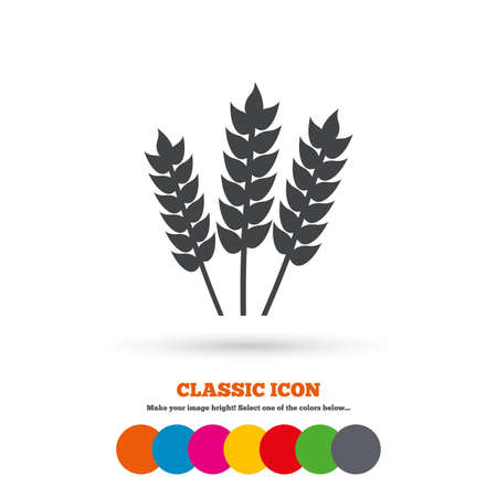 free illustration: Agricultural sign icon. Gluten free or No gluten symbol. Classic flat icon. Colored circles. Vector Illustration