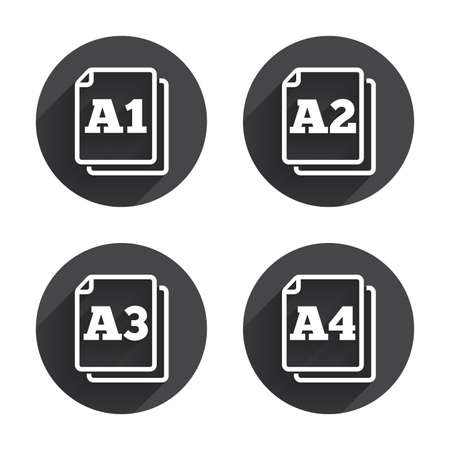 a2: Paper size standard icons. Document symbols. A1, A2, A3 and A4 page signs. Circles buttons with long flat shadow. Vector