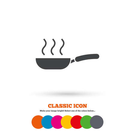 Frying pan sign icon. Fry or roast food symbol. Classic flat icon. Colored circles. Vector