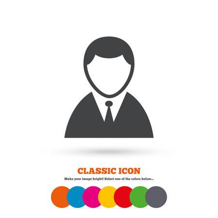 Icono de la muestra del usuario. Símbolo persona. Humano en traje avatar. Icono plana Classic. Círculos coloreados. Vector Foto de archivo - 43773530