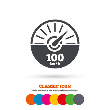 km: Tachometer sign icon. 100 km per hour revolution-counter symbol. Car speedometer performance. Classic flat icon. Colored circles. Vector Illustration