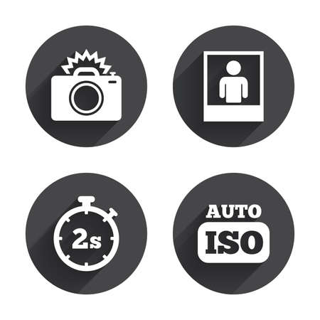 seconds: Photo camera icon. Flash light and Auto ISO symbols. Stopwatch timer 2 seconds sign. Human portrait photo frame. Circles buttons with long flat shadow. Vector Illustration
