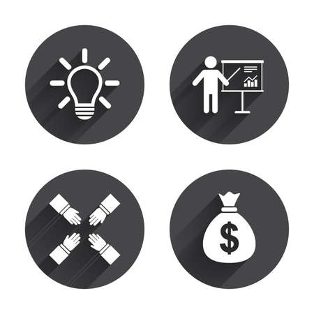 standing lamp: Presentation billboard icon. Dollar cash money and lamp idea signs. Man standing with pointer. Teamwork symbol. Circles buttons with long flat shadow. Vector