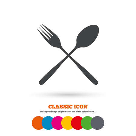 crosswise: Eat sign icon. Cutlery symbol. Fork and spoon crosswise. Classic flat icon. Colored circles. Vector Illustration